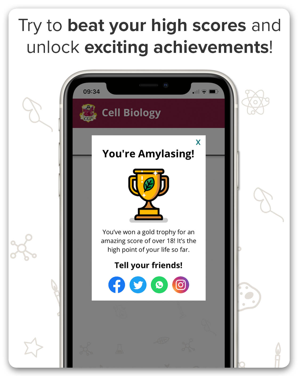 Win trophies on the AQA GCSE Science App