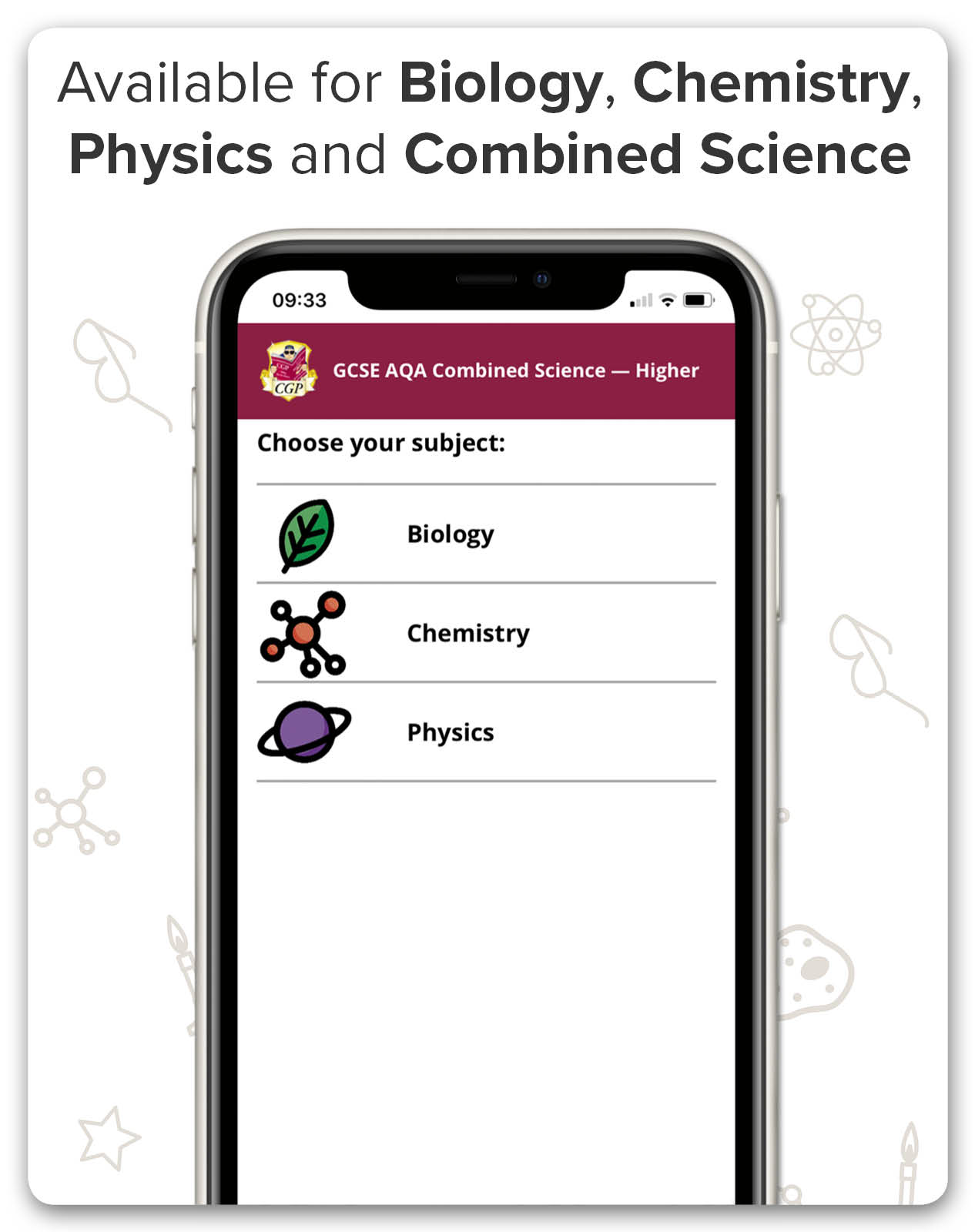 CGP's AQA GCSE Science Apps are available for Combined Science, Biology and Chemistry