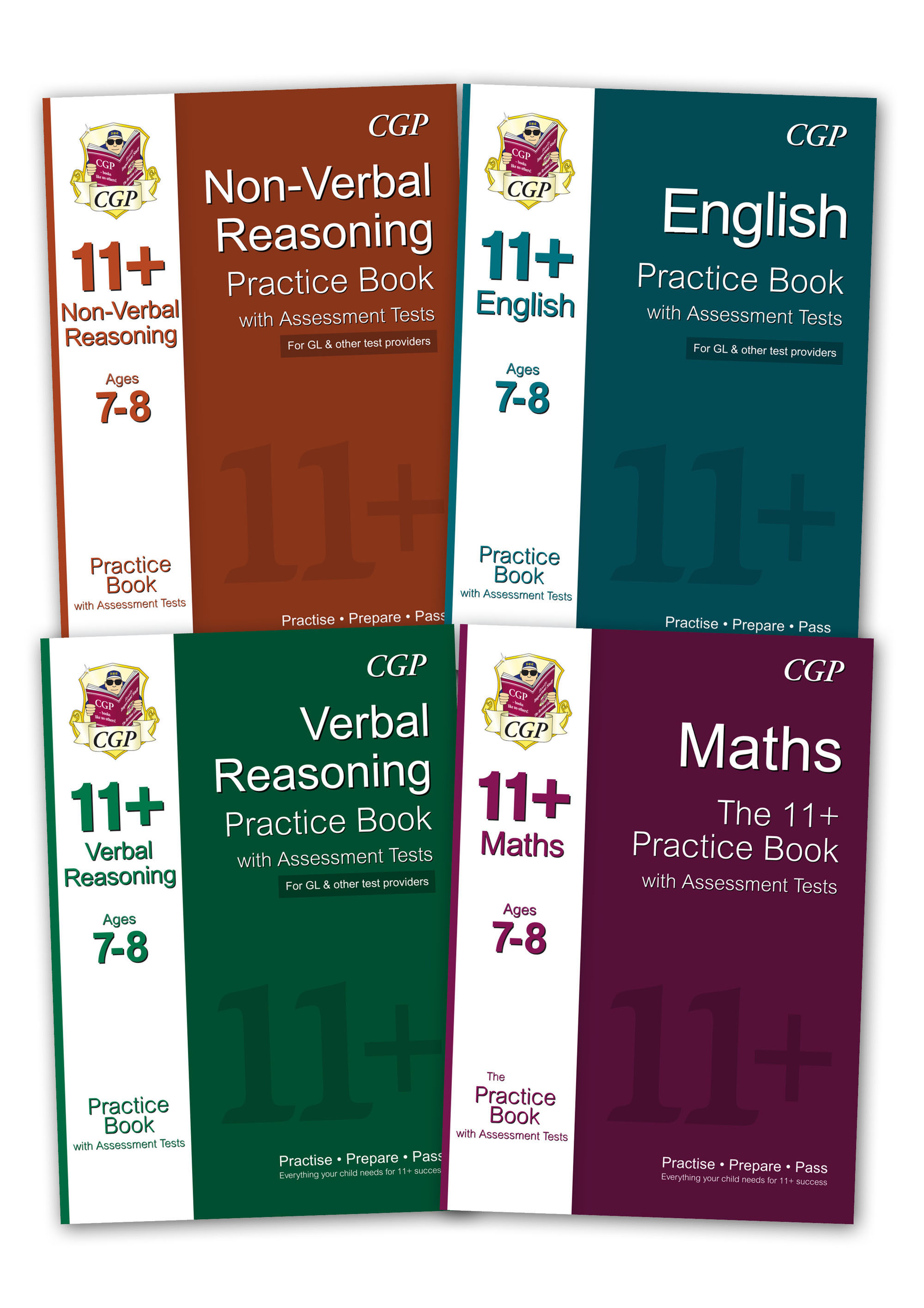 EL3BE1 - GL & Other Test Providers 11+ Practice 4-book Bundle - for Ages 7-8