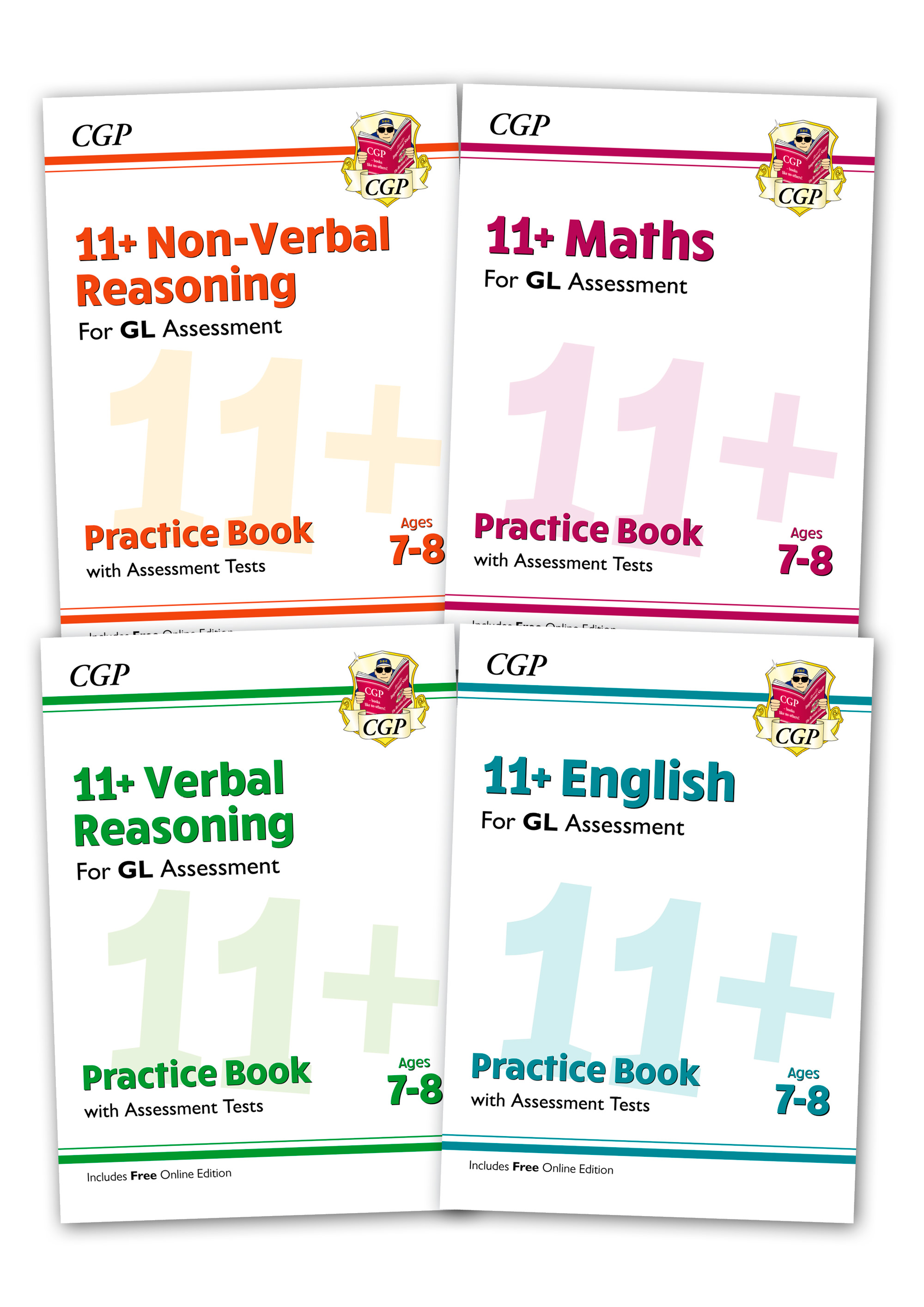 EL3BE2 - GL & Other Test Providers 11+ Practice 4-book Bundle - for Ages 7-8