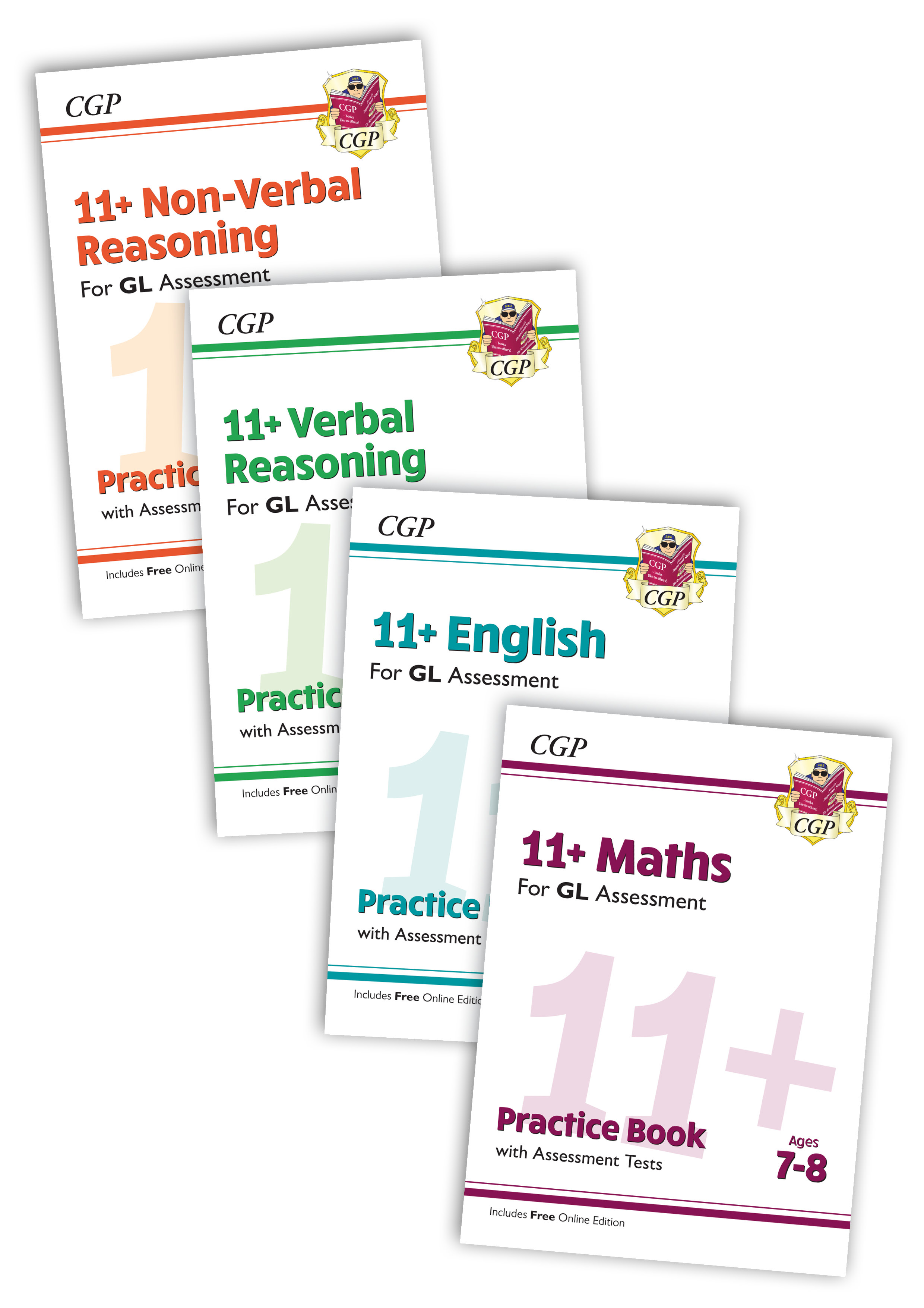 EL3BE3 - New 11+ GL & Other Test Providers Practice 4-book Bundle - for Ages 7-8