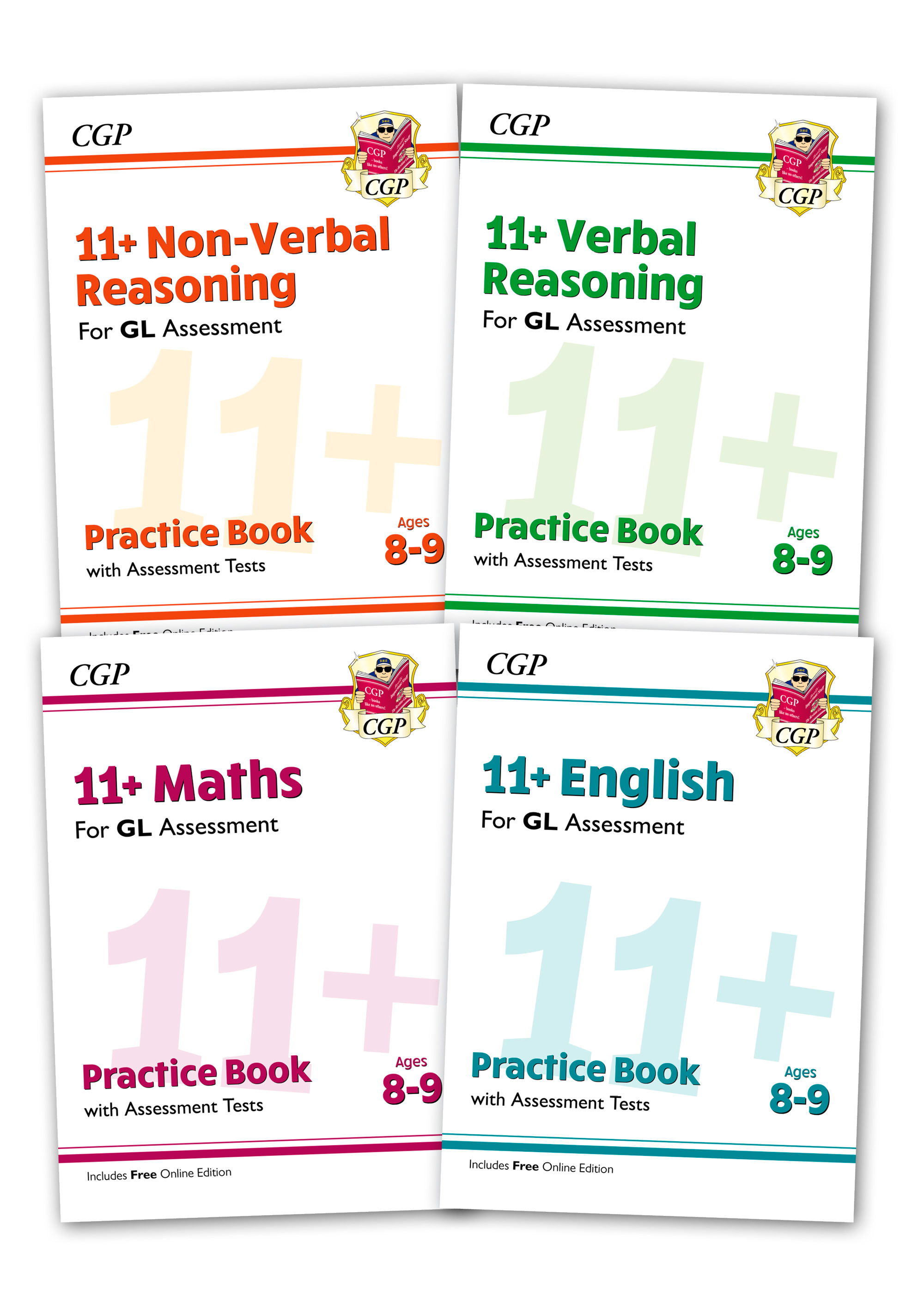 EL4BE2 - GL & Other Test Providers 11+ Practice 4-book Bundle - for Ages 8-9