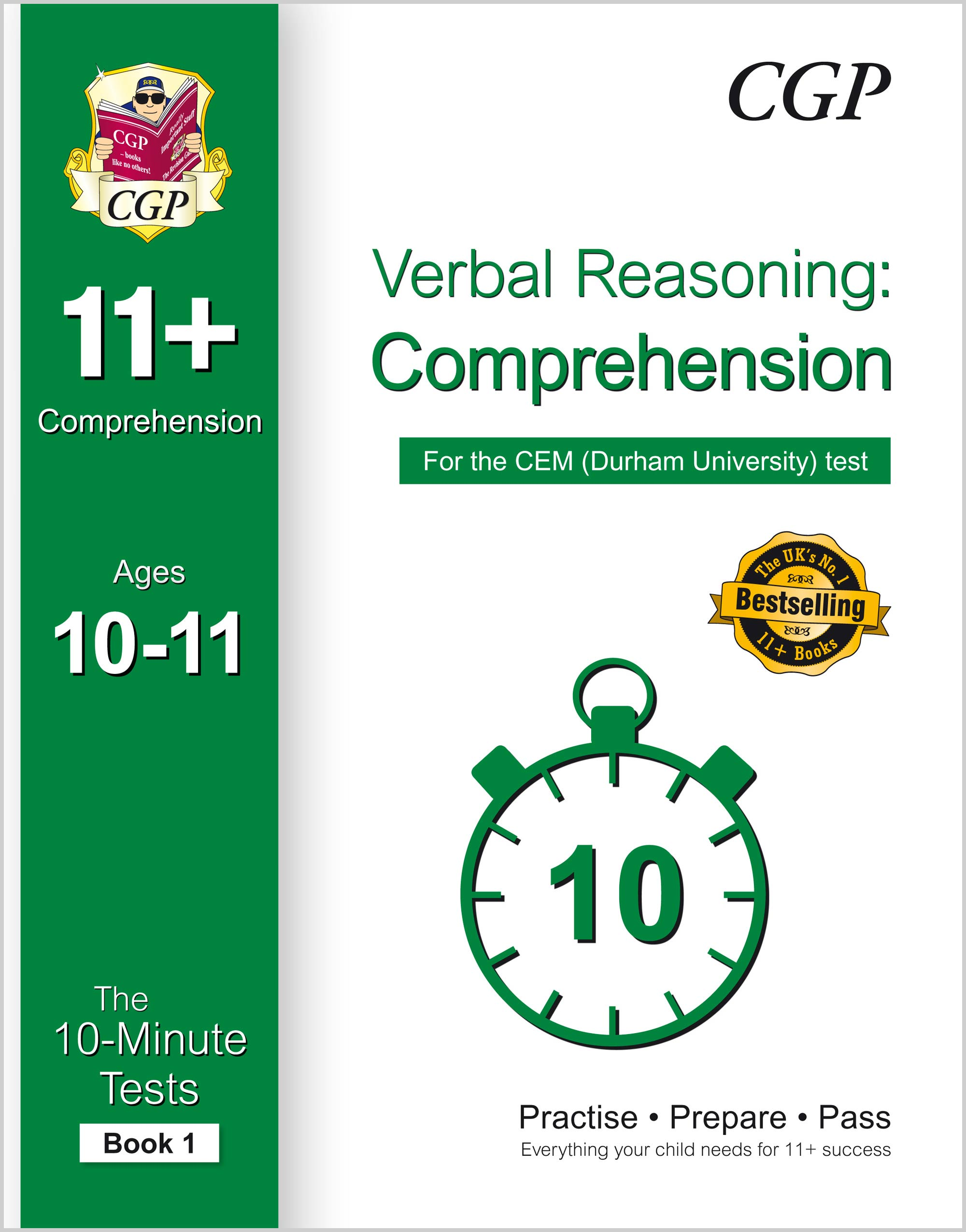 VCXPDE1 - 10-Minute Tests for 11+ Comprehension Ages 10-11 (Book 1) - CEM Test