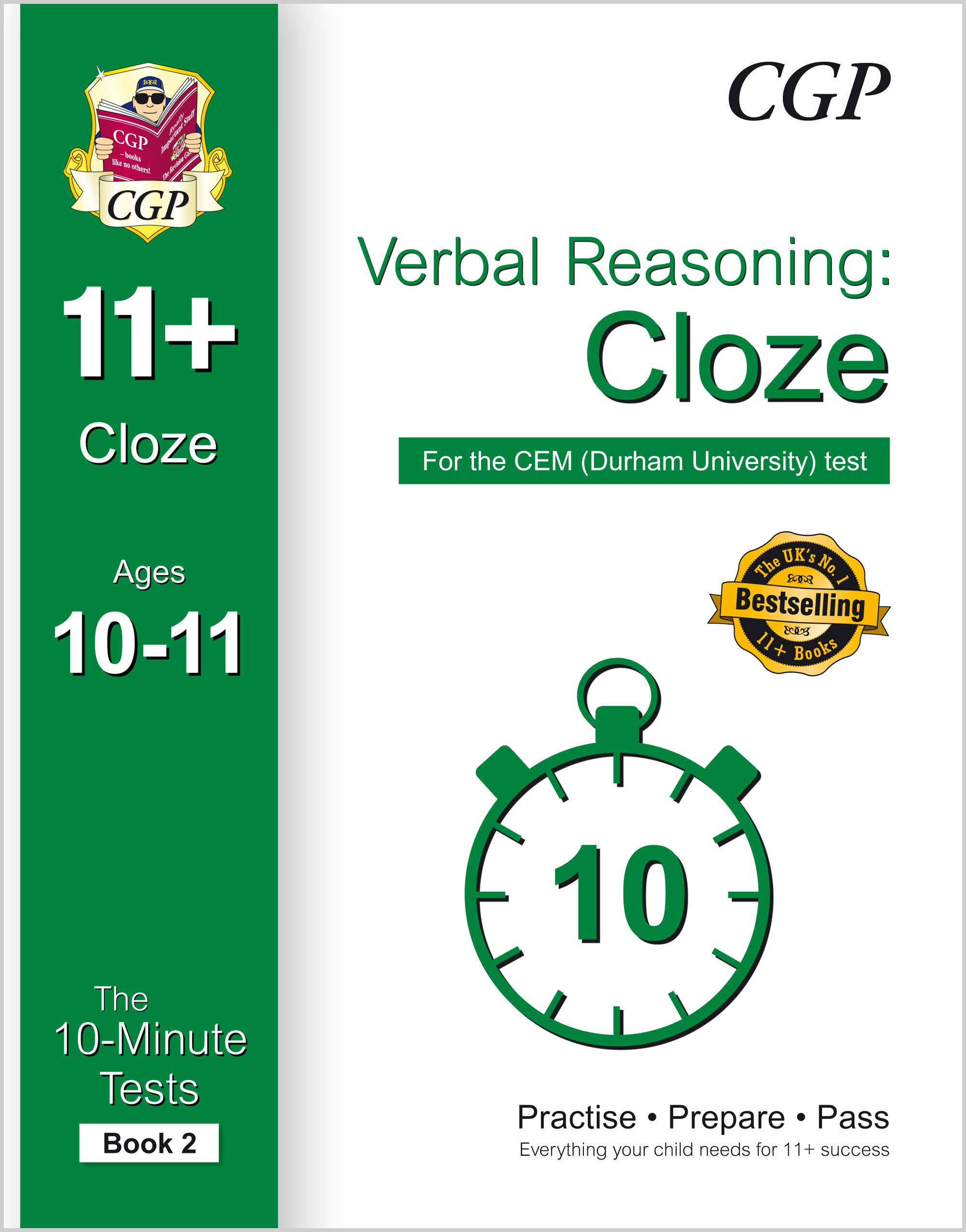 VLXPD2E1 - 10-Minute Tests for 11+ Verbal Reasoning: Cloze Ages 10-11 (Book 2) - CEM Test