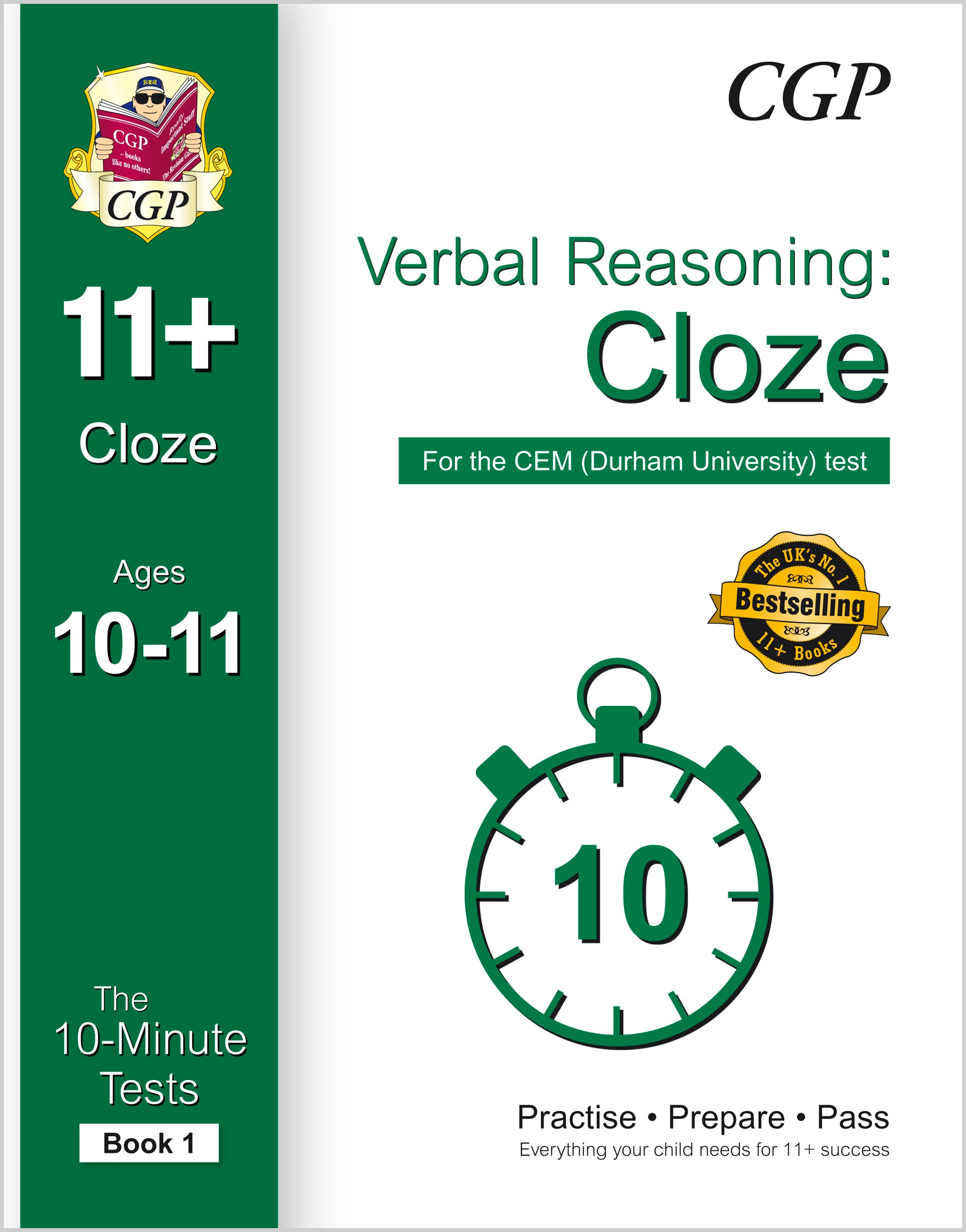 VLXPDE1 - 10-Minute Tests for 11+ Verbal Reasoning: Cloze Ages 10-11 (Book 1) - CEM Test
