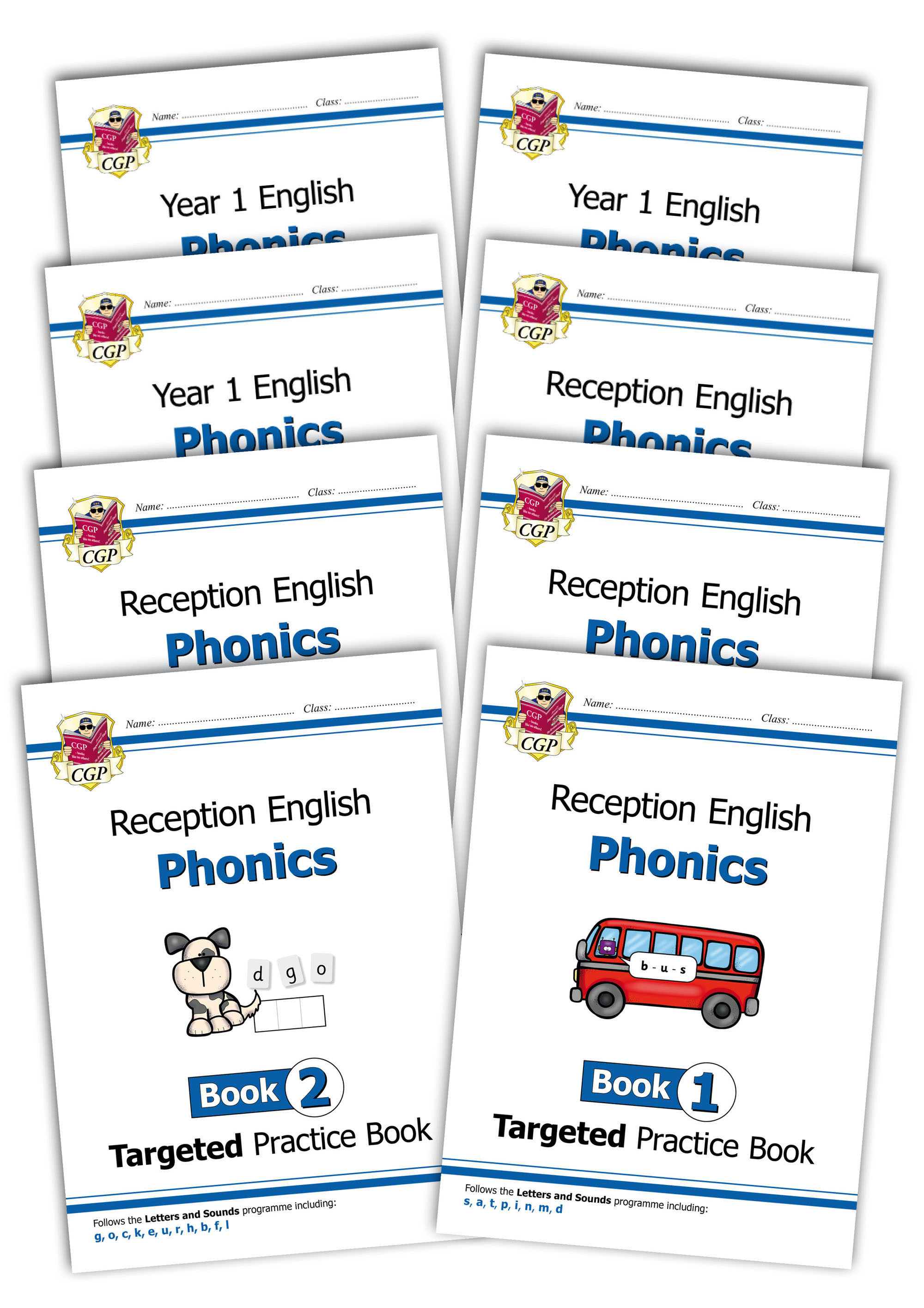 EOWB11 - New Reception & KS1 English Targeted Practice Book Complete 8-Book Bundle: Phonics