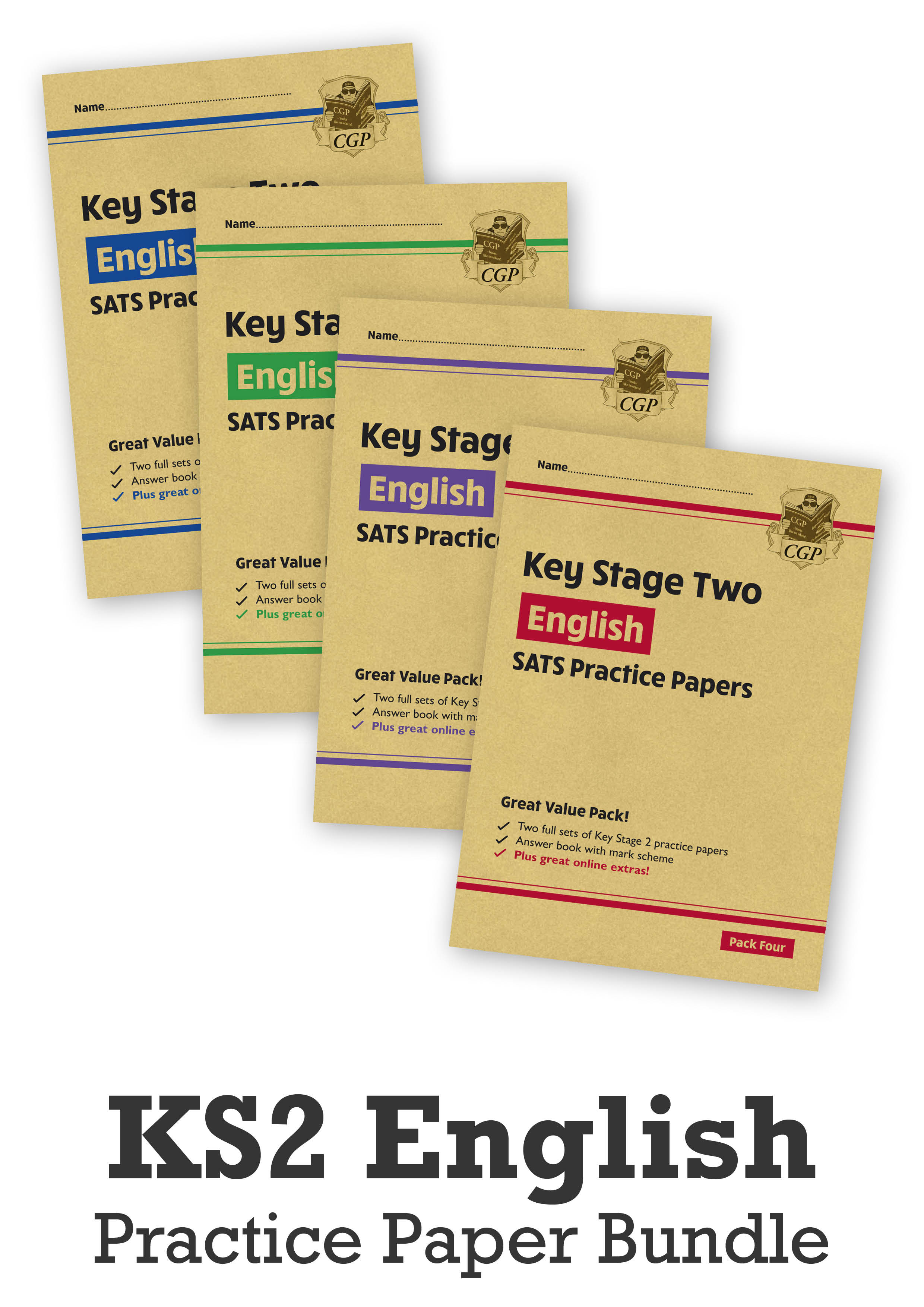 EHB4P24 - KS2 English SATS Practice Paper Bundle: Packs 1, 2, 3 & 4 (with Online Extras)
