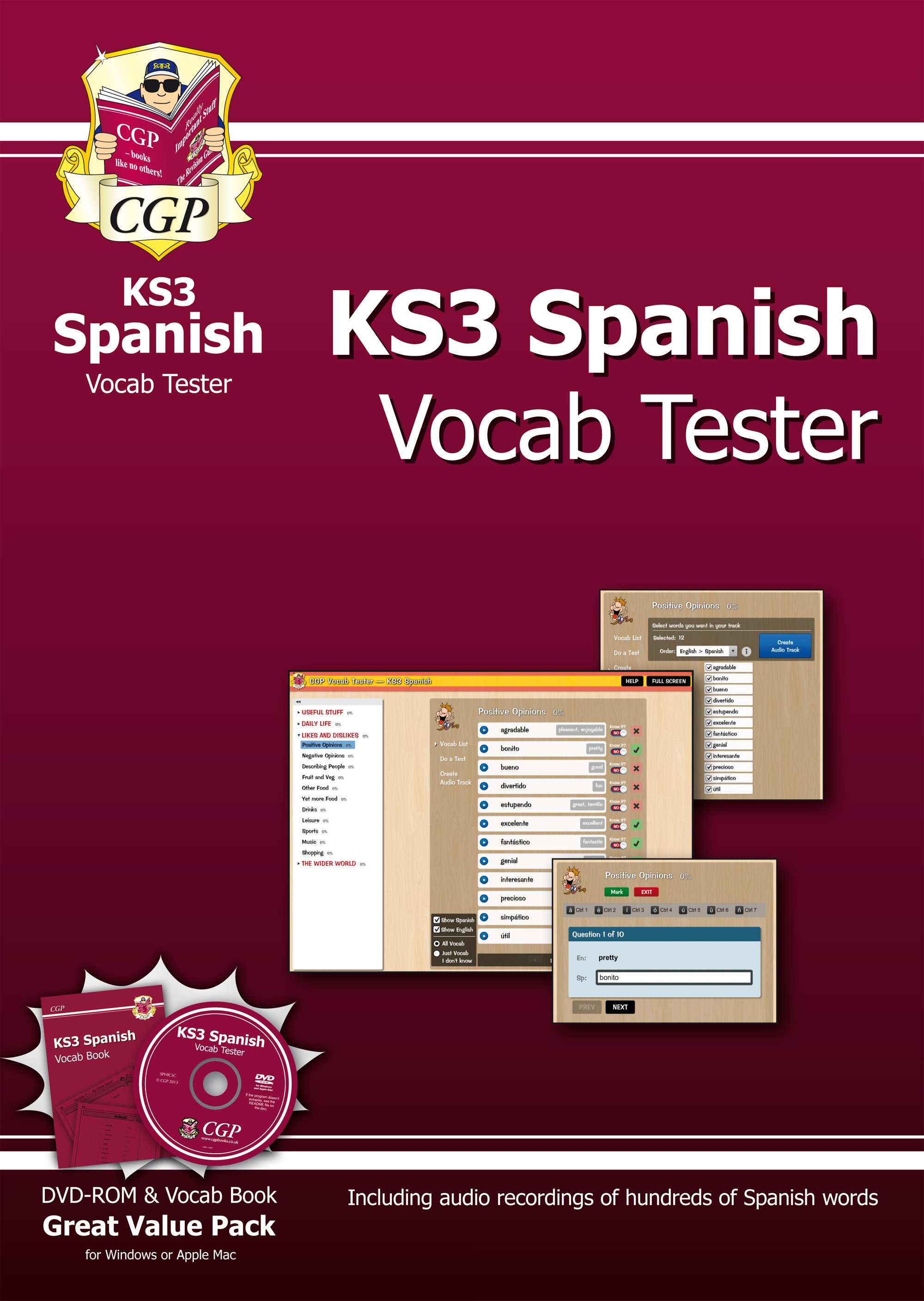SPHIC3B - KS3 Spanish Interactive Vocab Tester - DVD-ROM and Vocab Book
