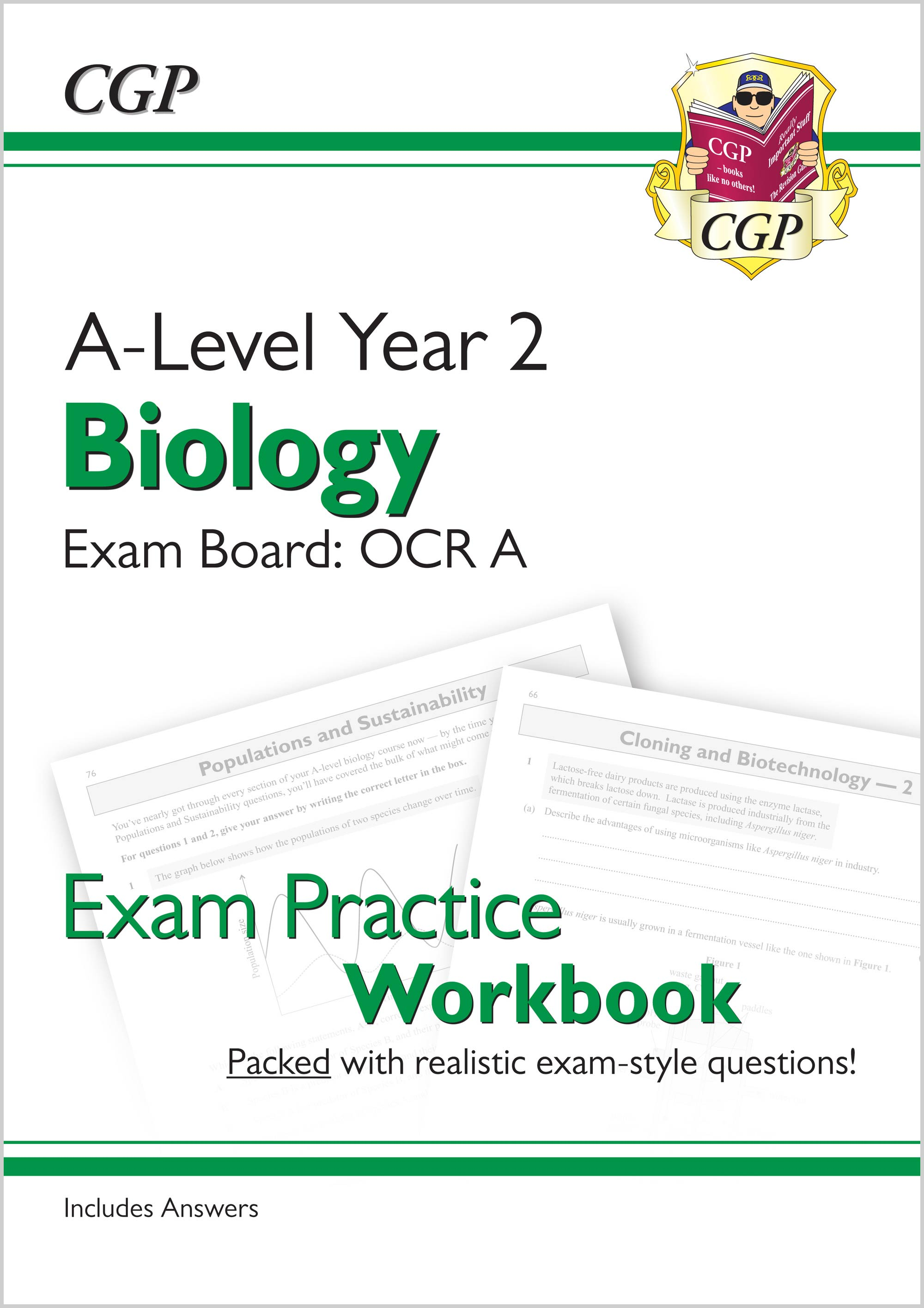 BRAQ61 - New A-Level Biology: OCR A Year 2 Exam Practice Workbook - includes Answers