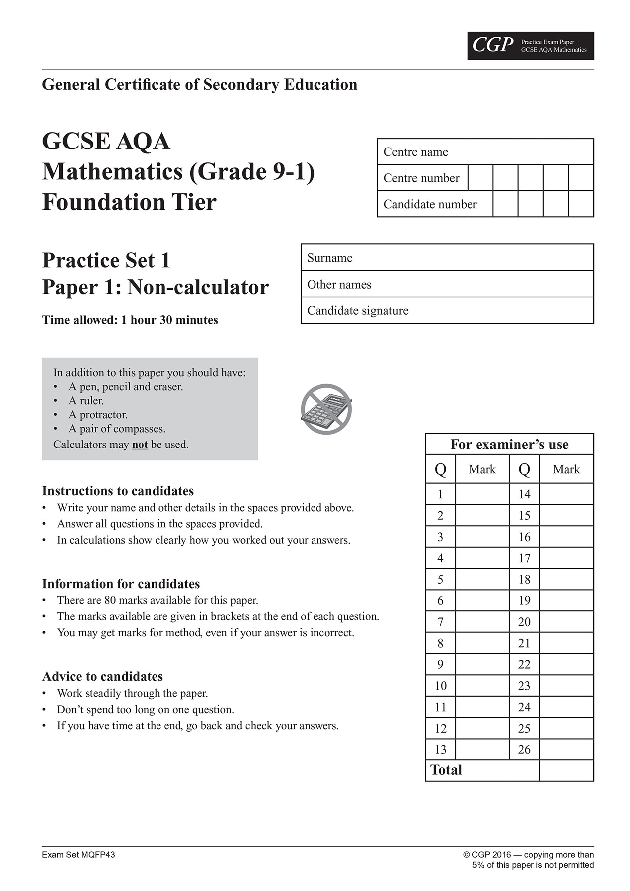 MQFP43 - GCSE Maths AQA Practice Papers: Foundation - for the Grade 9-1  Course